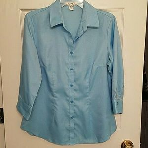 Coldwater Creek Blue No Iron Blouse Small